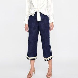 ZARA high waisted navy blue jacquard trousers